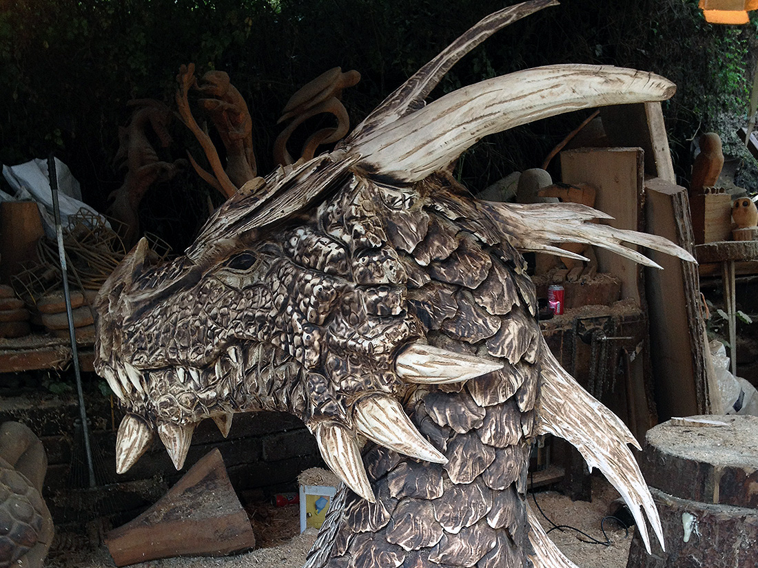 Dragon head sculpture