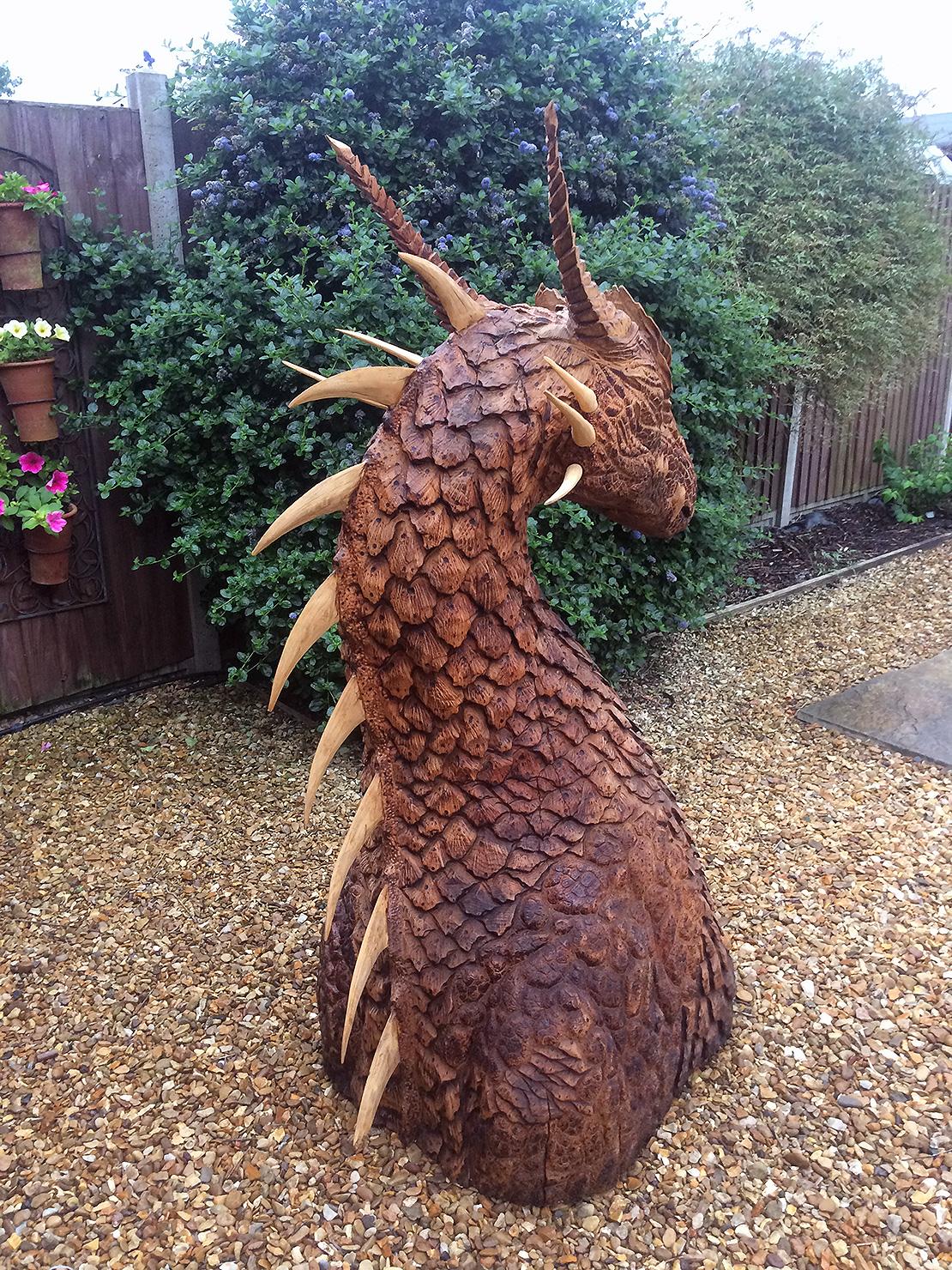 Small dragon head sculpture