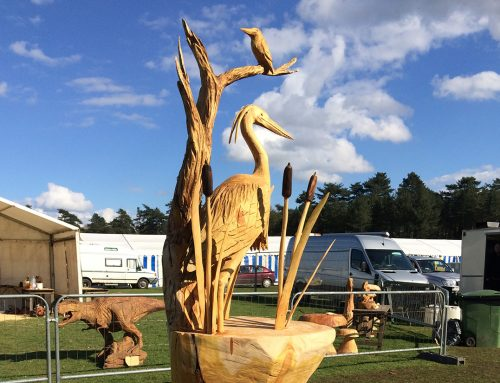 Heron Sculpture with Otter