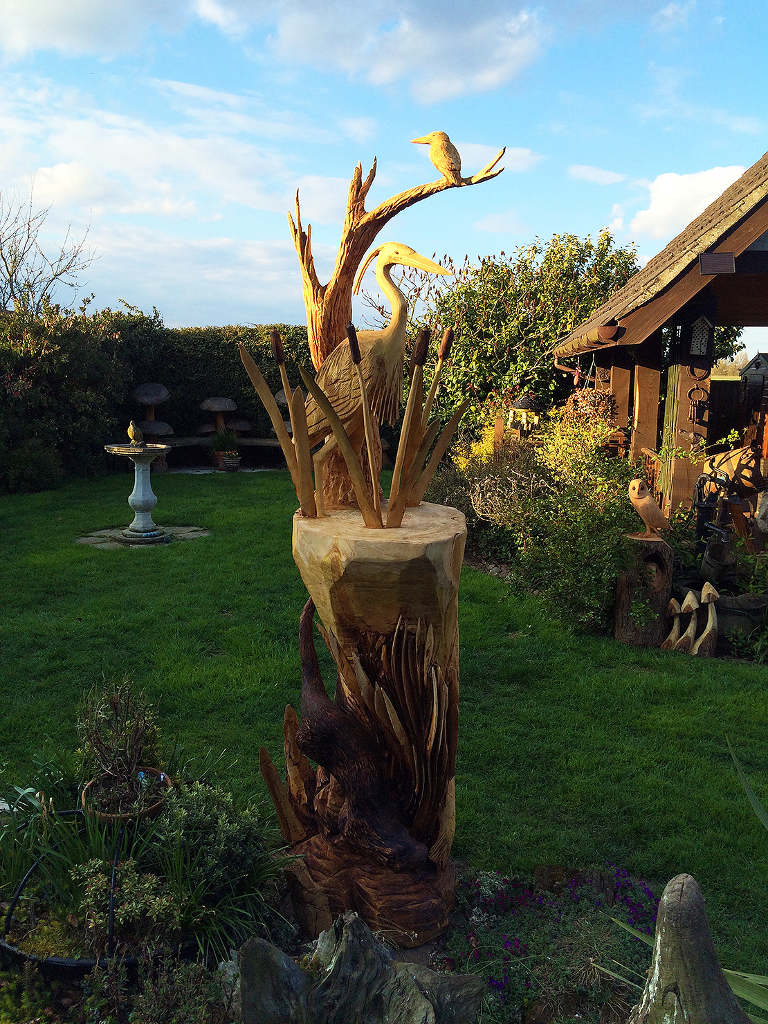 Heron sculpture in its new home
